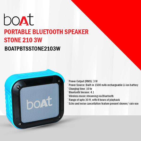 Boat Stone 210 3 W Bluetooth Speaker  (Blue, Mono Channel) (BOATPBTSSTONE2103W)