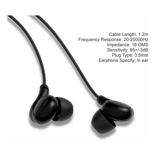 ORAIMO Capsule Extra Bass Wired Earphones with Remote Wired Headset with Mic  (Black, In the Ear) (ORAIMOEP-E23VORTEX)