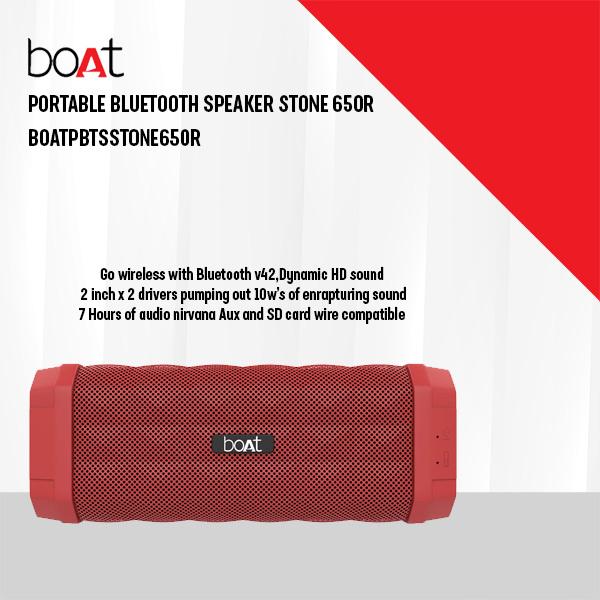 BOAT PORTABLE BLUETOOTH SPEAKER STONE 650R (BOATPBTSSTONE650R)