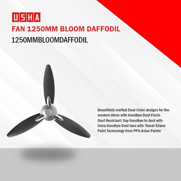 Usha Bloom Daffodil 1250 mm 3 Blade Ceiling Fan  (Sparkle Grey, Black, 1250MMBLOOMDAFFODIL)