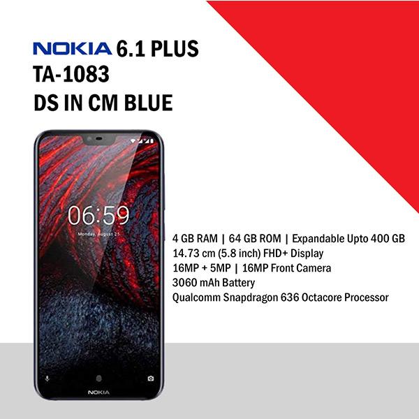 Nokia 6.1 Plus Blue, 64 GB 4 GB RAM (NOK6.1PLUSTA1083BLUE)