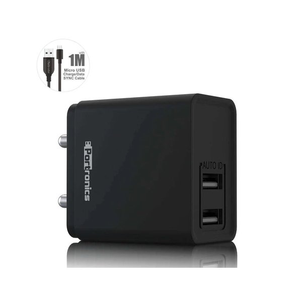 Portronics ADAPTO 649 12 W 2.4 A Multiport Mobile Charger with Detachable Cable  (Black) (PORTAPCRPOR649)