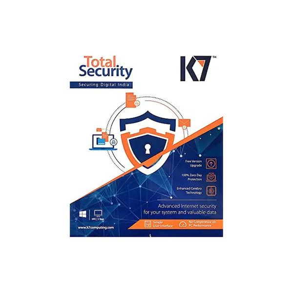 K7 Total Security - 10 PC, 1 Year Latest Version (CD)- 1 KEY, 1 CD for 10 devices - K7ANTIVIRUS