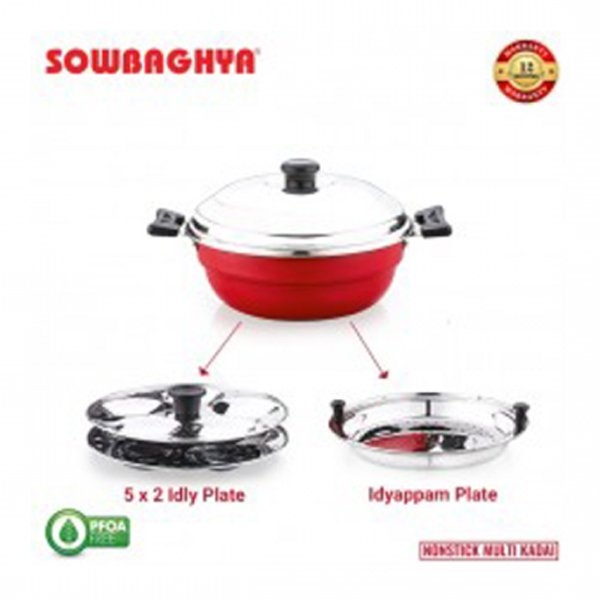Sowbaghya Non Stick Induction Base Multi Kadai (2 Idly Plates + 1 Steamer Plate) (Dia: 250mm) (Thickness: 3mm) (3Ltr) (ULTIMAIBSSMULTIKADAI)