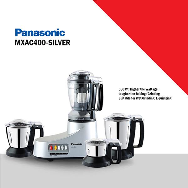 Panasonic 3 Jar 550 W Mixer Grinder -Silver (MXAC400-SILVER)
