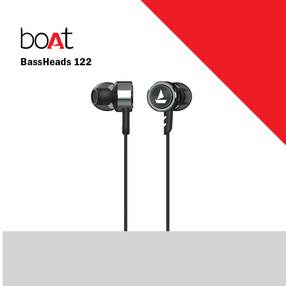 Boat Bassheads 122 Wired Headset with Mic  (Gun Metal, In the Ear) (BOATBASSHEADS122)